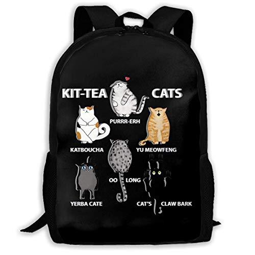 IUBBKI Mochila lateral negra Mochilas informales Zwinz Funny Cute Cat - Kit Tea Cats School Lightweight Large Capacity Casual Printed Adult Backpack Unisex