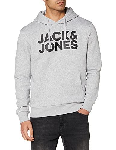 Jack & Jones Jjecorp Logo Sweat Hood Noos Capucha, Gris (Light Grey Melange Detail:Reg Fit-Melange), Large para Hombre