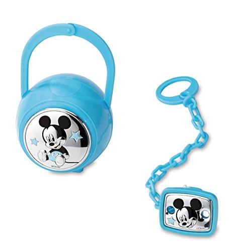 Disney Baby - Schnullerkette mit clip und Schnullerbox in Silber - perfekt als Geschenkidee zur Taufe oder zum Geburtstag - Micky-Maus-Design
