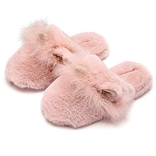 ZCVB Womens Flauschige Hausschuhe Einhorn Kaninchenflush Slipper, Mädchenhaus Sliders. Warm Und Gemütlich Rutschfeste Flauschige Tierische Hausschuhe,Rosa,38~39