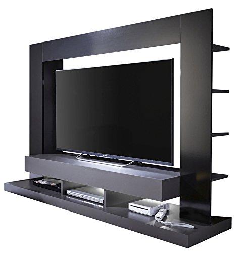 trendteam smart living Wohnzimmer Anbauwand Wohnwand TTX05, 164 x 124 x 46 cm in Korpus Grau, Front Schwarz Hochglanz mit viel Stauraum