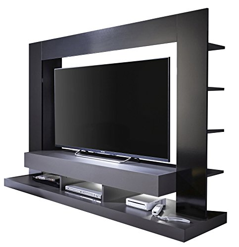 trendteam Wohnzimmer Anbauwand Wohnwand TTX05, 170 x 124 x 46 cm in Korpus Grau, Front Schwarz Hochglanz mit viel Stauraum