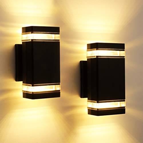 LEONLITE LED Square Up Down Wall Light, 20W 1400lm, Modern Outdoor Porch Light, Wet Location Wall Sconce, ETL & Energy Star Listed, Door Way, Corridor, Garage, 3000K Warm White, Pack of 2
