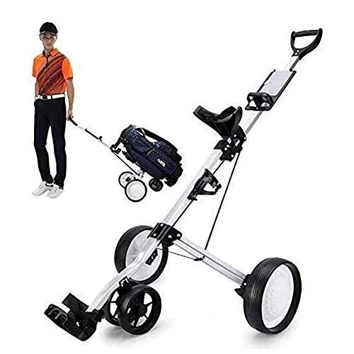 GYC Carritos de Golf Carrito de Golf de 4 Ruedas con portavasos y Estante para Tarjetas de puntuación, Carrito Plegable portátil para Tirar Carrito de Bolsa de Club, fácil Transporte y ensamblaje