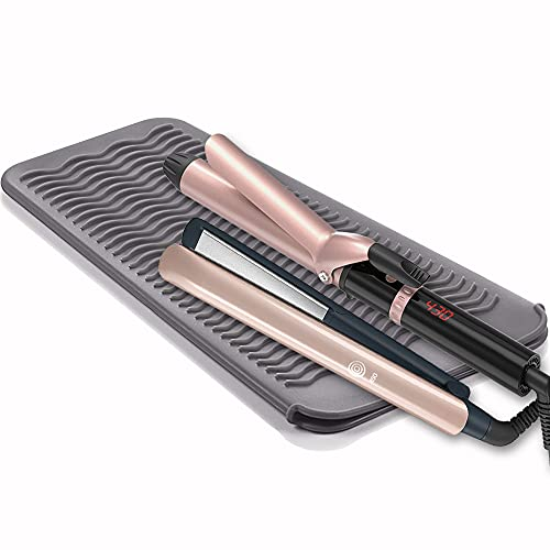 SmellRose Hair Iron Mat & Pouch, Professional Heat Resistant Mat for Flat Iron and Curling Iron, Portable Travel Silicone Hair Straightener Mat and Cover for Hair Styling Tools