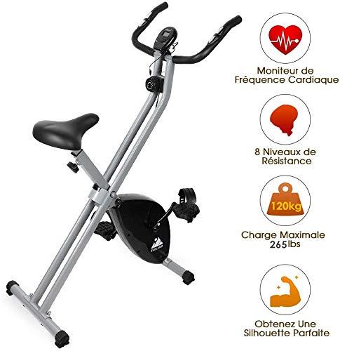 EVOLAND Vélo d'Appartement Pliable, Exercice Bike avec 8 Niveaux de Résistance, Siège Réglable, Affichage LCD, Vélo d'Intérieur Cardio-Training pour Adulte, 120Kg Capacité