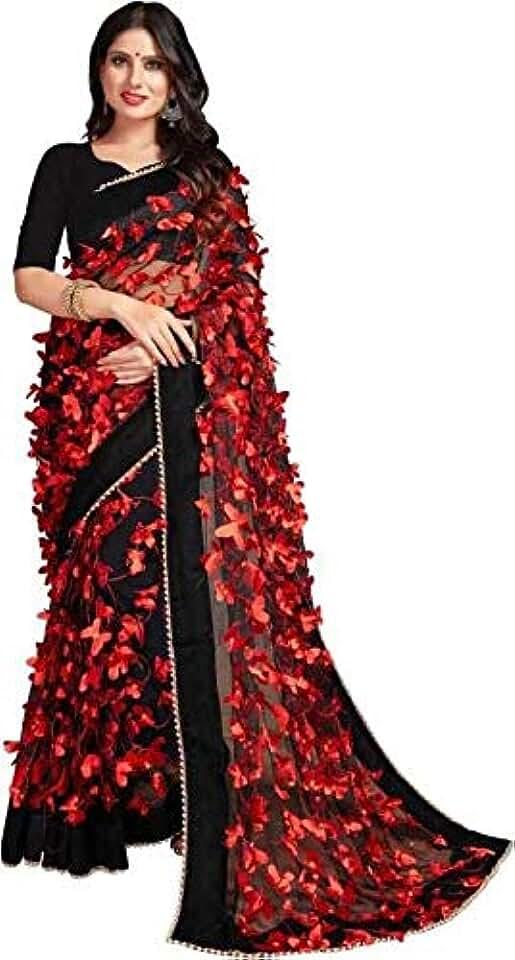 Indian Barebeauty Women's Woven Net Saree With Blouse Piece Saree
