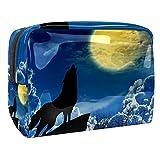 Bolsa de Maquillaje para niños Impresión de Lobo Accesorio de Viaje Neceser Pequeño Bolsas de Aseo Impermeable Cosmético Organizadores de Viaje 18.5x7.5x13cm