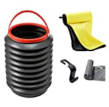 Waterproof Car Folding Trash Can,Hanging Garbage Bin with Odor Blocking Technology,Universal Traveling Portable Collapsible Pop up Leak Proof Car Trash Can (Black-Car Trash Can Without Lid)