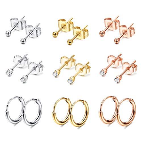 Tendance 3//4//5// mm Inoxydable Rond Boule Boucles D/'Oreille Earrings Jewelry