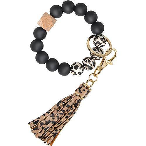 Silicone Bracelet Keychain Wristlet, YUOROS Stretch Bead Key Ring Bracelet for Women (Leopard)