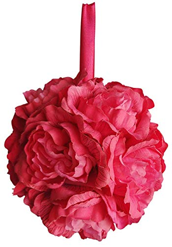 V-Max Floral Decor 6 Inches Peony Kissing Ball (Pack of 6) - Colors: Hot Pink