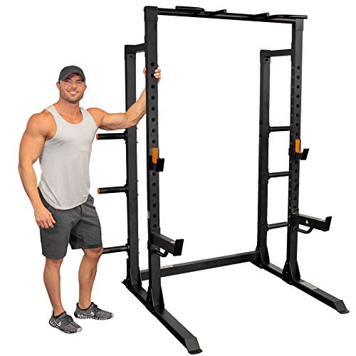GRIND Fitness Chaos 4000 Power Rack, 6 Weight Plate Holders, Barbell Holder, 1500 lbs Weight Limit, Spotter Arms, Textured Multi-Grip Pull Up Bar, Heavy Duty J-Cups