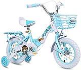 LIUXR Infantiles Bicicletas Bicicletas para niños 12/14/16/18 Pulgadas, Bicicleta para niños de Acero al Carbono con Rueda de Entrenamiento Regalo para niños y niñas de 2-10 años,Blue_16inch