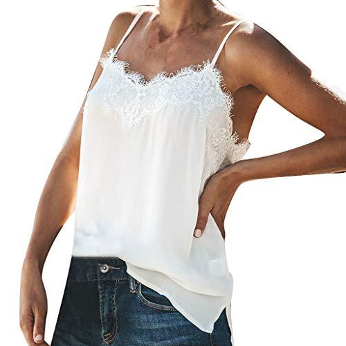 Honestyi Frauen Weste Mode V Ausschnitt Wimpern Spitze Tank Tops ärmellose Bluse Camis Tops Einfarbiges Spitzenhemdchen(Weiß,XL)