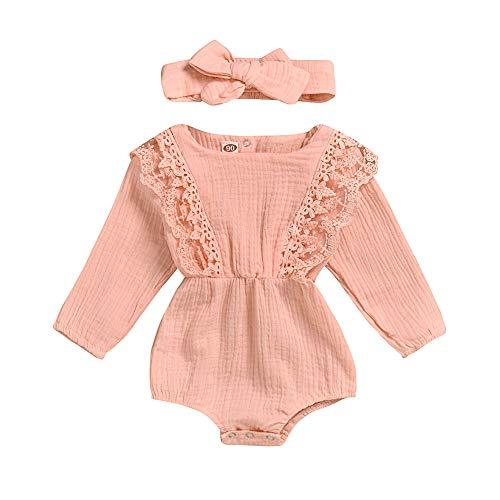 ETbotu baby meisje kleding, baby kleding - 2 Stks/Set Meisje Baby Pak Effen Kleur Lange Mouw Kant Romper + Strik Haar Band 0 ~ 2 jaar