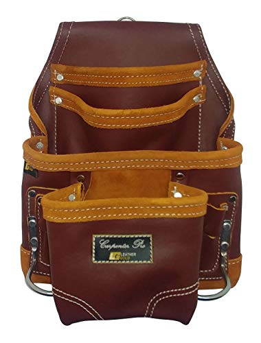 Leather Gold Heavy Duty Tool Pouch | Carpenters Tool Pouch 3251, Maroon, Oil-Tanned, 10 Pockets, 2 Hammer Holders, Reinforced Seams | Made from Premium Natural Grain Leather for Superior Durability