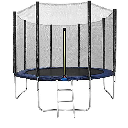 EGLEMTEK Trampolino Diametro 305 cm Tappeto Jumper Elastico con Rete di Sicurezza, 8 Pali Imbottiti, Scaletta e Rivestimento sui Bordi, Ideale per Giardino Balzo (Colore Blue E Nero)