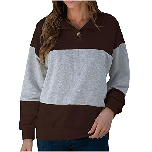 Wave166 Sudadera para mujer de manga larga, cuello redondo, bloque de color, patchwork, con botones, para otoño e invierno, ropa deportiva para mujeres, gris, XL