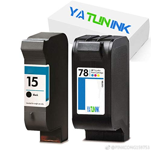 YATUNINK Remanufactured Ink Cartridges Replacement for HP 15 78 C6615D C6578A (1 Black + 1 Color, 2 Pack)