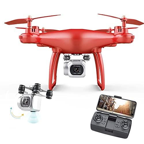 MAFANG® Drone con Cámara 4K HD, Posicionamiento De La Luz, Fotografía De Gestos con Las Manos, Modo Sin Cabeza, Vuelo De Ruta, Flips 3D, Modo MV, para Niños, Adultos Y Principiantes,Rojo