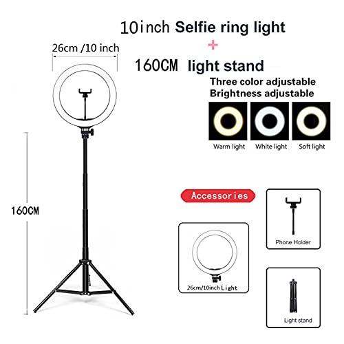 YSJJZDE Anillo de luz Video Light Dimmable Selfie DIRIGIÓ Luz de Anillo USB Lámpara de Anillo Photography Light Light con trípode Soporte para Tiktok Youtube (Color : Purple)