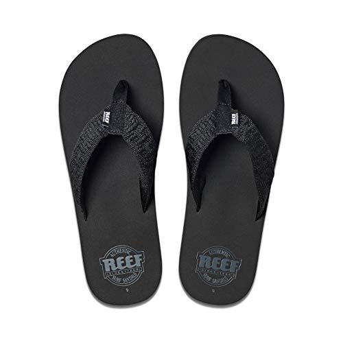 Reef Men's Sandals Smoothy | Classic Beach Flip Flop with Woven Strap and Arch Support, Black, 6