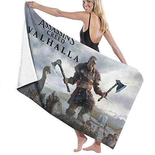 Assassins-Creed Valhalla - Toalla de baño para baño, súper absorbente, de secado rápido, para gimnasio, camping, piscina, baño, para niños, 81,5 x 13,2 cm