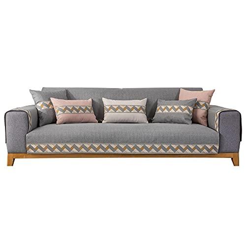 Homeen Cubierta de sofá de Lino de Alto Grado,Cubierta de sofá Antideslizante Universal,Protector de sofá seccional para sofá de Tela/sofá de Cuero-Gris_90 * 90 cm
