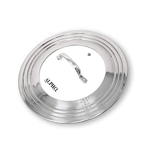 """Alpha Living 60015 7"""" to 12"""" High Grade Stainless Steel and Glass Universal, Fits All Pots, Replacement Frying Pan Cover and Skillet Lids, 7-12 inches"""