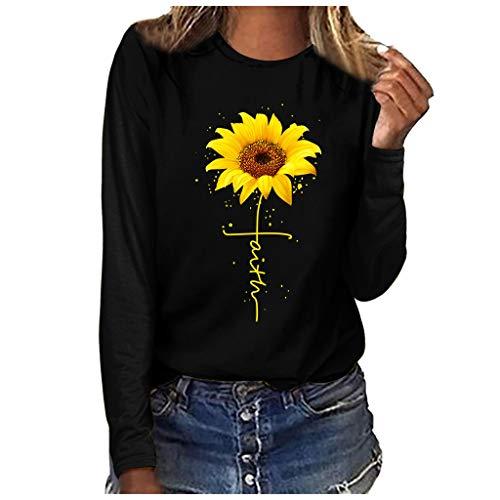 Graphic Tees for Women Long Sleeve Funny Sunflower Faith Print Fall Cute Casual T Shirt Tops for Teen Girls Junior Black