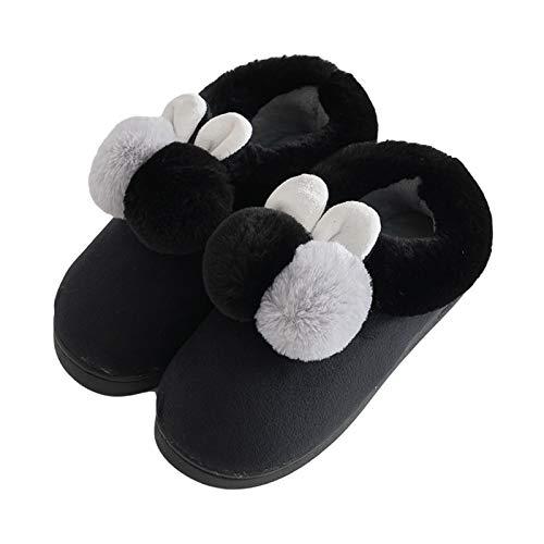 CNZXCO 2 unids Padre-niño Traje Lindo Peluche Conejo Mujer Invierno Pantalones de algodón casero niña Conejo Oreja algodón Zapatos para Damas (Color : Black, Size : 38/39EU)
