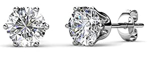 Private Twinkle 18ct White Gold Plated Birthstone stud earrings embellished with crystal for Women (5mm, 6 Claw) (04. Diamond)
