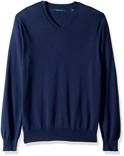 Perry Ellis Men's Solid V-Neck Sweater, Bay Blue, Medium