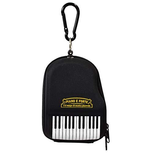 パスケース コインケース ピアノ 鍵盤 PIANO E FORTE カラビナ付 伸びる 小銭入れ レディース 女の子 キッズ 子供 大人 黒 通学 通勤 定期入れ