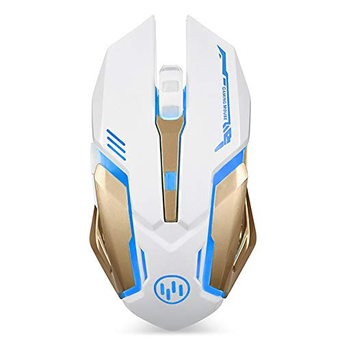 Scettar Wireless Gaming Mouse, Computer Gaming Mouse Silent Click, 7 Breathing Led Light, 3 Adjustable DPI,Iron Plate, Power Saving Mode Rechargeable Wireless Mouse for Laptop/Notebook/MAC