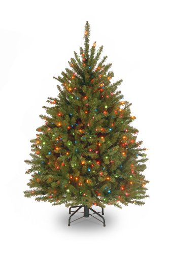 National Tree Company Pre-lit Artificial Christmas Tree | Includes Pre-strung Multi-Color Lights and Stand | Dunhill Fir - 4.5 ft