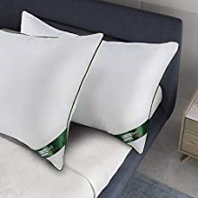 BedStory Almohadas Antiácaros 42 x 70cm Almohadas Fibra con Relleno 3D Fibra Mantiene la Forma para de Cama Almohada de Hotel【Nueva Versión】 Pack de 2 Verde