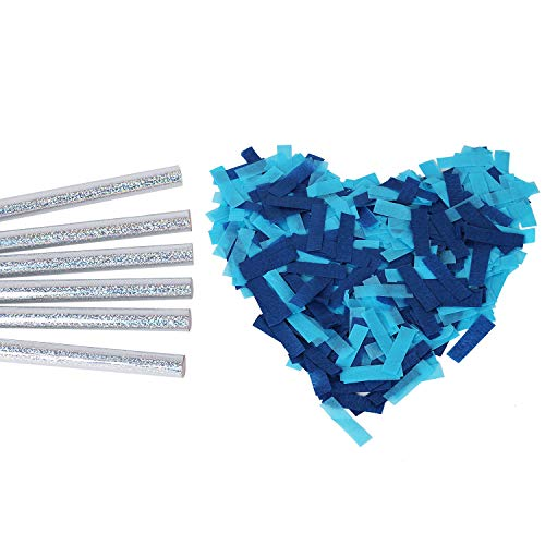 Gender Reveal Confetti Wands Blue 6Pack Biodegradable Tissue Paper Confetti Flick Flutter Sticks for Boy Baby Shower Party Decorations Supplies - Blue 14inch (Health and Beauty)