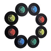 Dessous de verre en vinyle antidérapant. Cadeau idéal pour les amateurs de musique. Contenu de l'emballage : lot de 8 sous-verres Couleur : 2 jaunes/2 vert/2 bleu/2 roses. Diamètre : 10 cm.