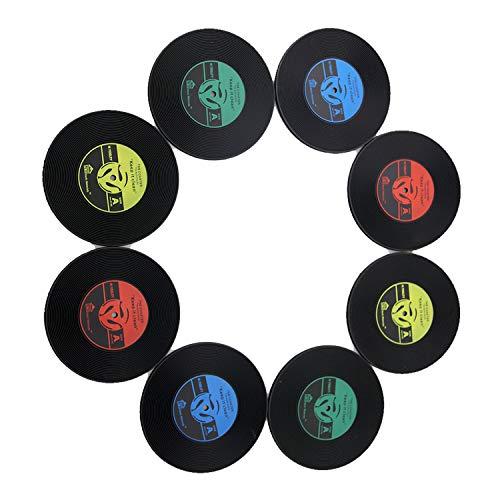 INTVN 8er Set Retro Vinyl LP Schallplatten Stil Untersetzer Tasse Matte rutschfeste Isolierte Kaffee Getränke Matte