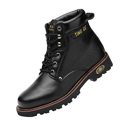 Ting Gu Toe en Acier Bottes de sécurité pour Hommes Chaussures de Travail en Cuir Industriel et Construction Indestructible Protéger Les Chaussures de Travail (40 EU, Noir)