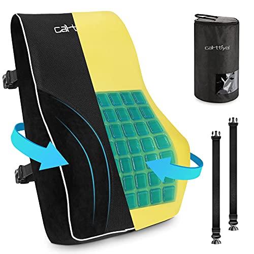 Carttiya Cojín lumbar de gel para el hogar, la oficina, el coche, la oficina, la silla de oficina, el cojín lumbar con espuma de memoria de forma, color negro