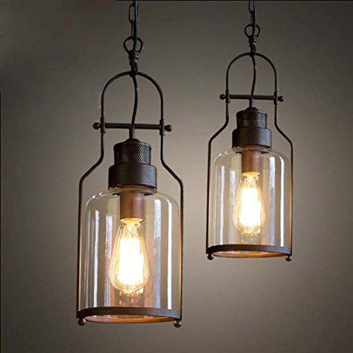 BAYCHEER Laterne Retro Vintage Pendelleuchte Hängelampe Industrie Kronleuchter Deckenlampe E27 Fassung höhenverstellbar mit Glas für Wohnzimmer Esszimmer Restaurant (6'' B Lampe)