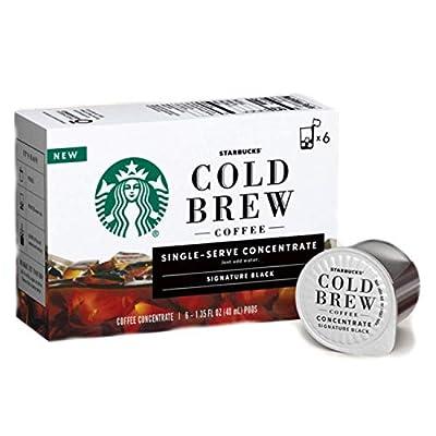 Starbucks Cold Brew Single-Serve Coffee Concentrate Pods (6 count box) (Signature Black)