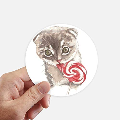 DIYthinker Little Cat Lollipop aquarel dier ronde Stickers 10 Cm muur koffer Laptop Motobike Decal 8 Stks