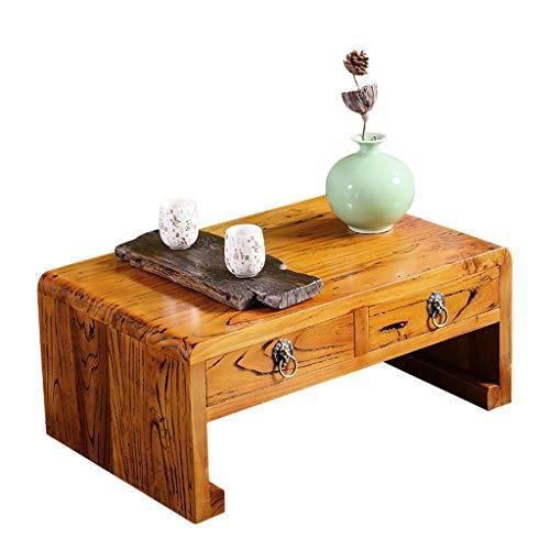 Weq Massief houten salontafel, eenvoudige tabel Chinese oude iep, met schuiflade, thee, tafel, boek, raam, tafel, tatami tafel, woonkamer, moderne salontafels