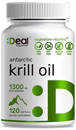 Antarctic Krill Oil 1300mg, 120 Softgels, Burpless, Omega-3s Krill Oil with EPA, DHA and Astaxanthin, Advanced Krill Oil Supplement
