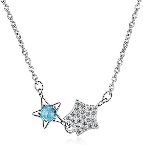 Xianglsp Co.,ltd Collar Tamaño Doble Estrella 925 Collar Colgante De Plata para Mujer Joyería De Moda Viene con Caja De Regalo Cumpleaños para Mujeres Y Niñas