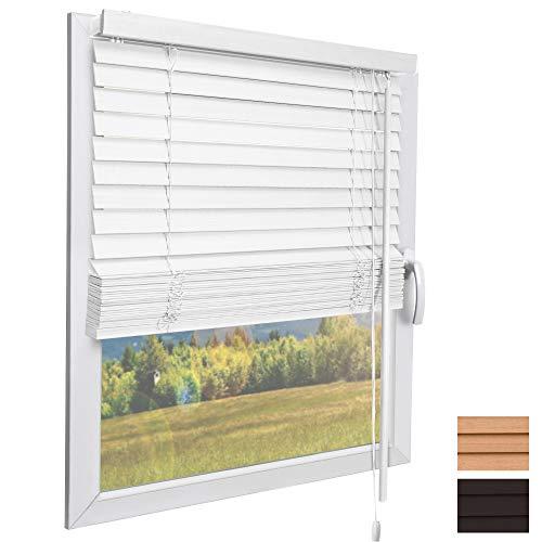 Sol Royal Holzjalousie SolDecor JH3 Jalousie aus Holz in Weiß - 120x160 cm Tür- und Fensterjalousie Holz umweltschonend produziert - Jalousien Fenster
